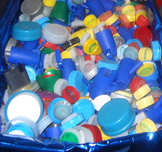 Collection of plastic bottle caps